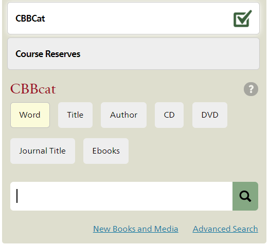 search box for CBBcat on library homepage