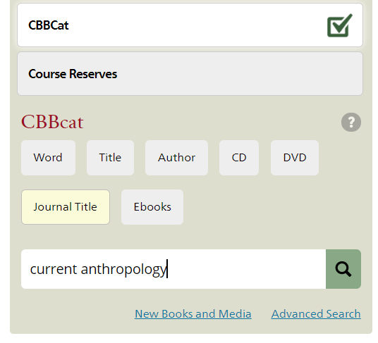 search for current anthropology by journal title