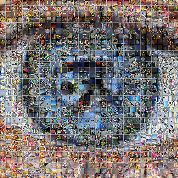 A collage of photographs in the shape of an eye.