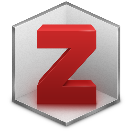 The logo for Zotero: its a big red Z in what looks like a corner of the inside of a grey cube.