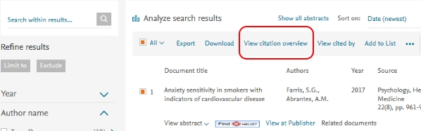 Scopus create citation overview step 1