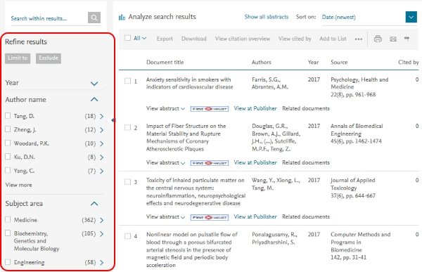 Scopus search result to refine