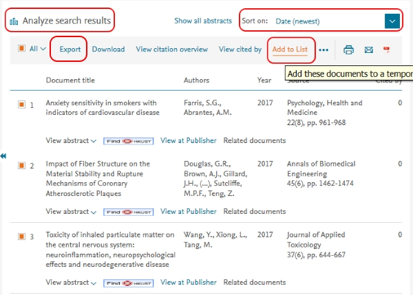 Scopus search results sort, add to list & export