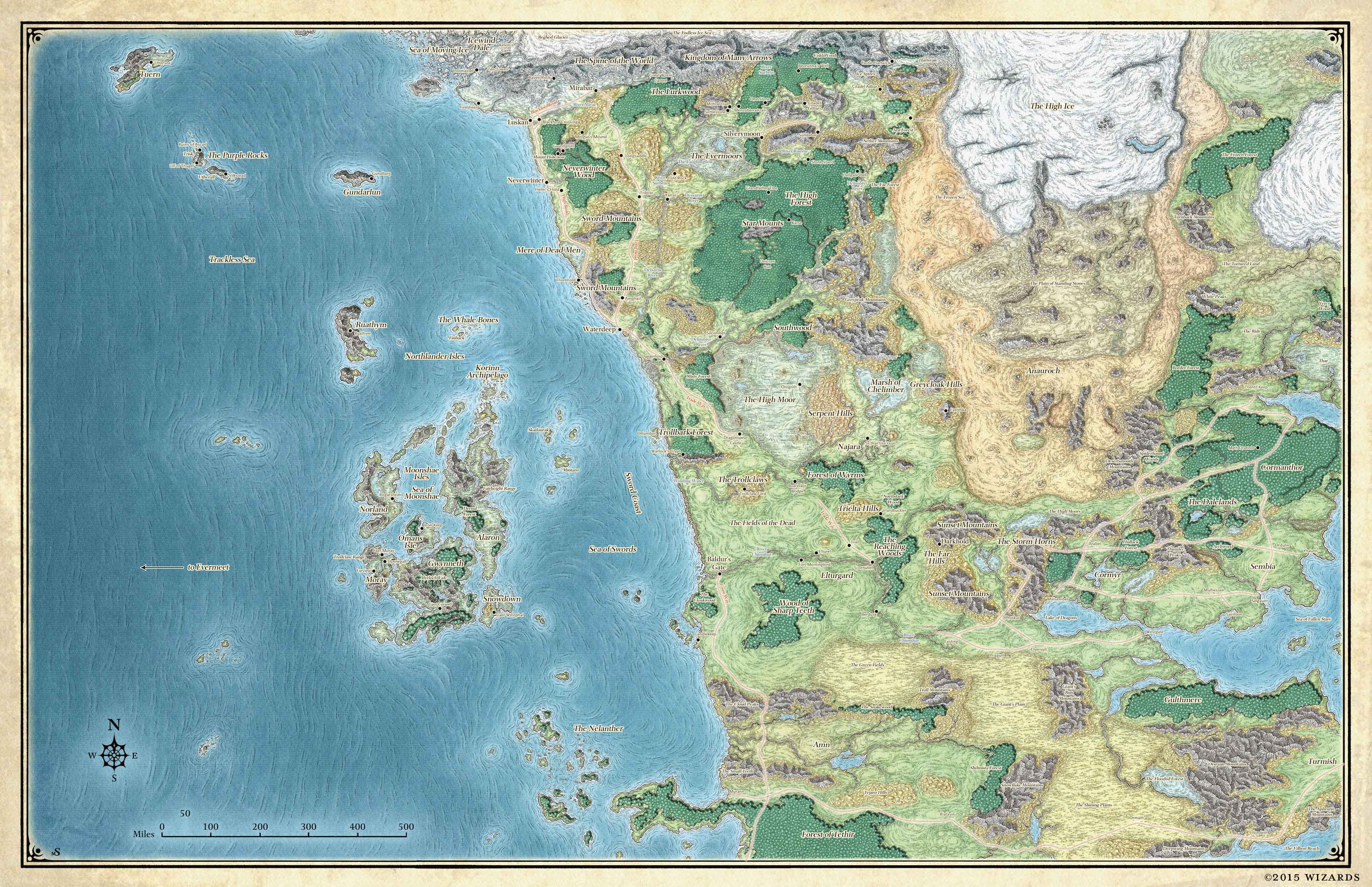 Map of Faerun, one of the official Dungeons and Dragons worlds. Copyright Wizards of the Coast