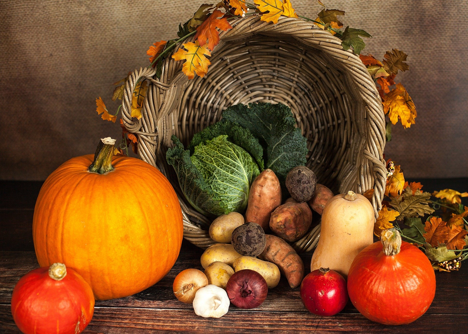 a picture of gourds, vegetables, and a cornucopia