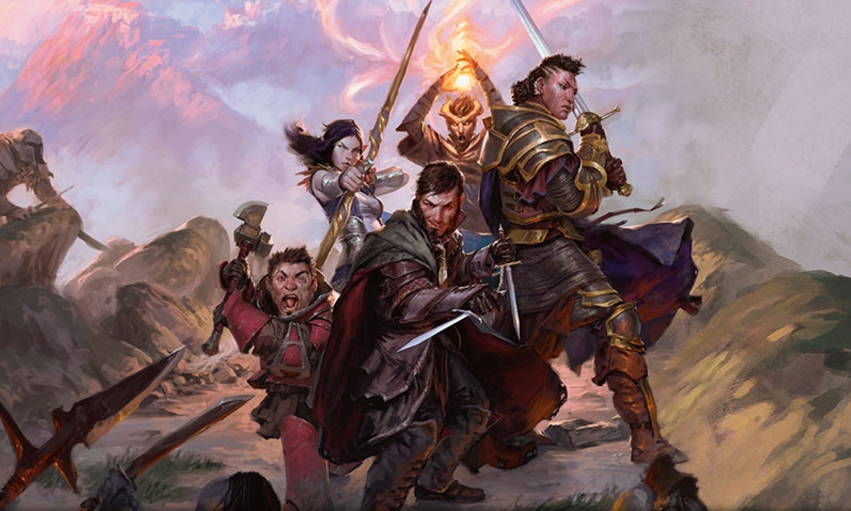 a picture of fantasy characters with weapons at the ready. Copyright Wizards of the Coast.