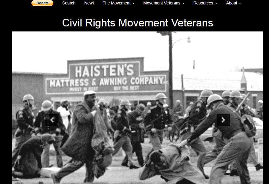 Screen Shot of the home page of Civil Rights Movement Veterans