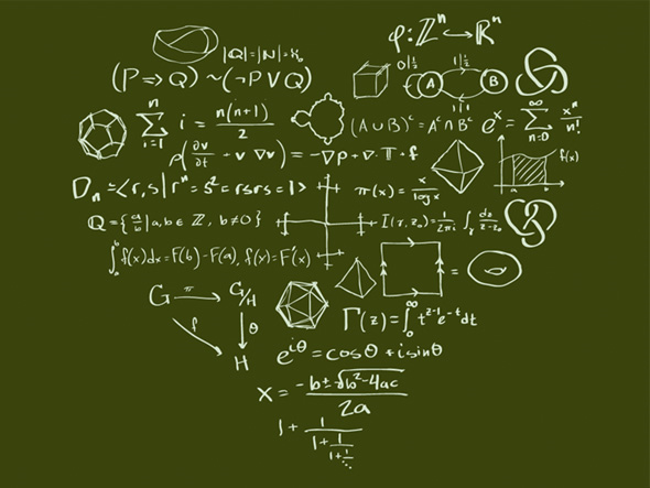 Math equations displayed in the shape of a heart