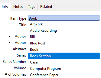Select Book Section for Item Type