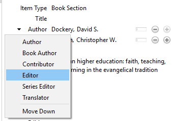 Change book author to editor