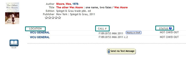 Other Wes Moore catalog record with location, call number, and status emphasized.