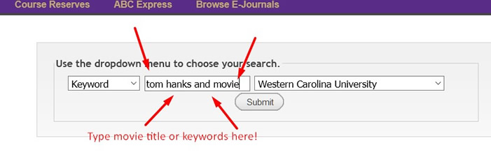 Catalog keyword search example.