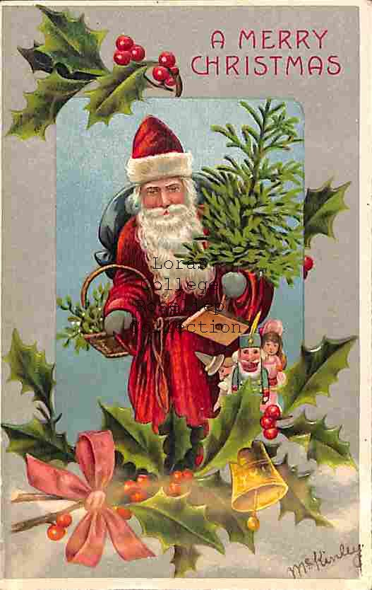 Father Christmas Delivers Tree and Mistletoe