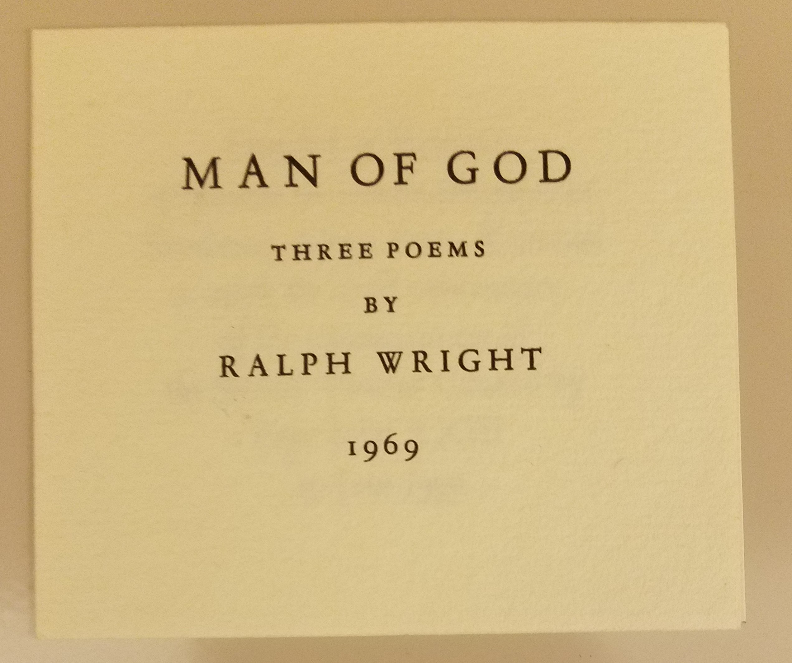 cover of man of god by ralph wright