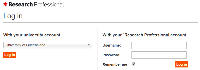 Research Professional login screen - select University of Queensland