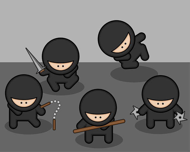 Group of cartoon ninjas