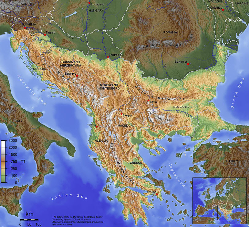 Map of the Balkans with topography