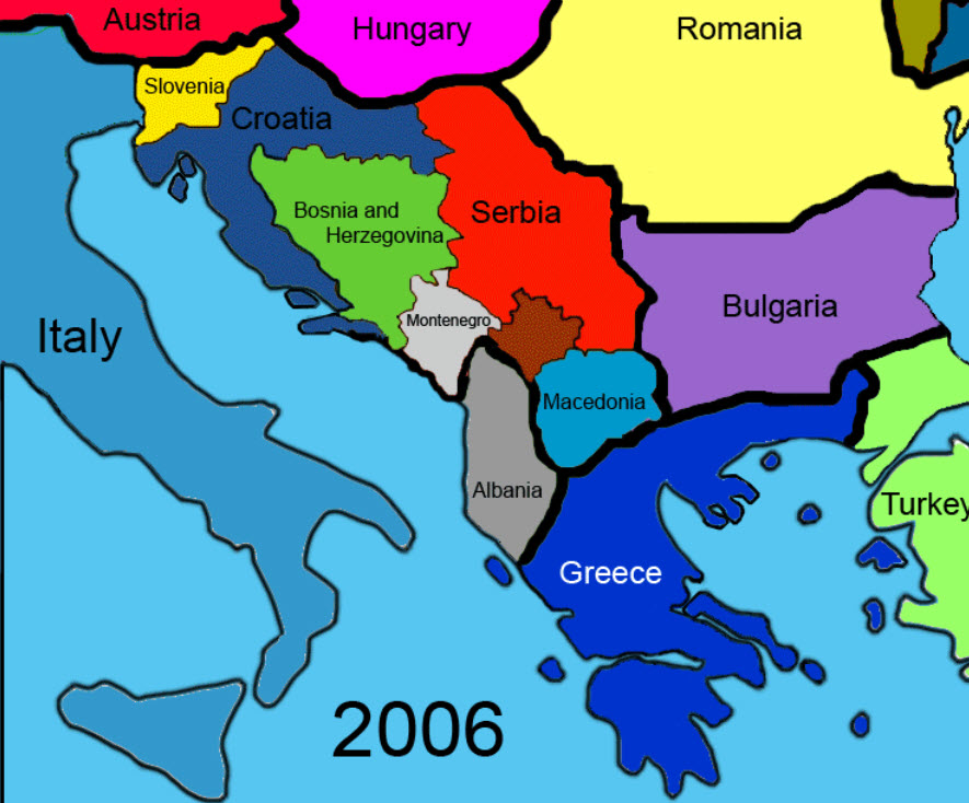Animated map of the Balkans Political Boundaries Changing Over Time