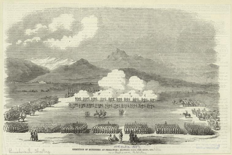 Drawing of the execution of mutineers at Penilawur by firing squad.