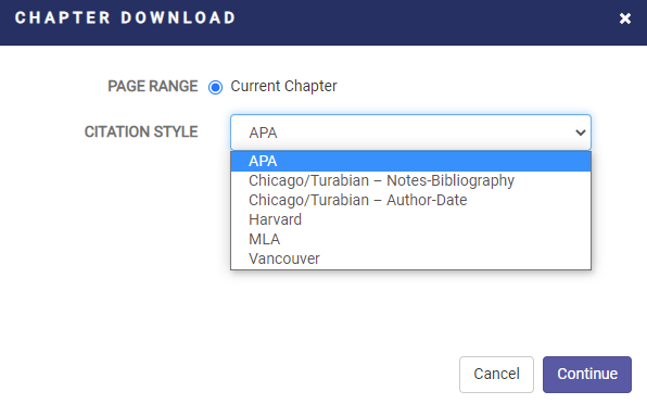 chapter download options