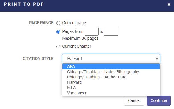 print download menu