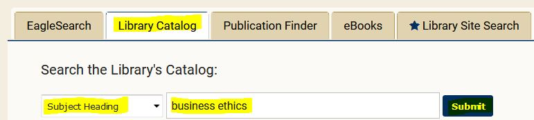 Sample catalog search for business ethics books and ebooks