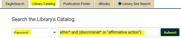 sample catalog search for ethics and discrimination or affirmative action