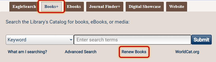 quick search box renew books link