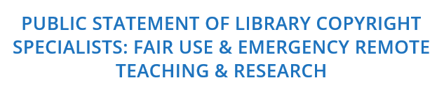 Public Statement of Library Copyright Specialists