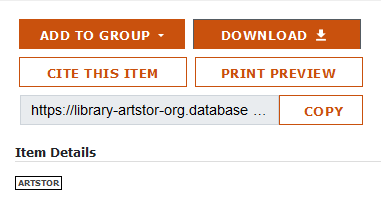 Artstor option buttons with the Download button selected