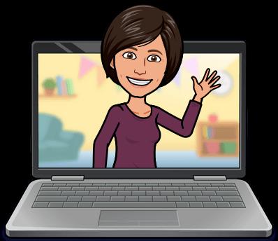 Lori saying Hi from laptop screen