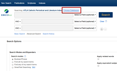 "Search additional databases by selecting ""Choose Databases"""