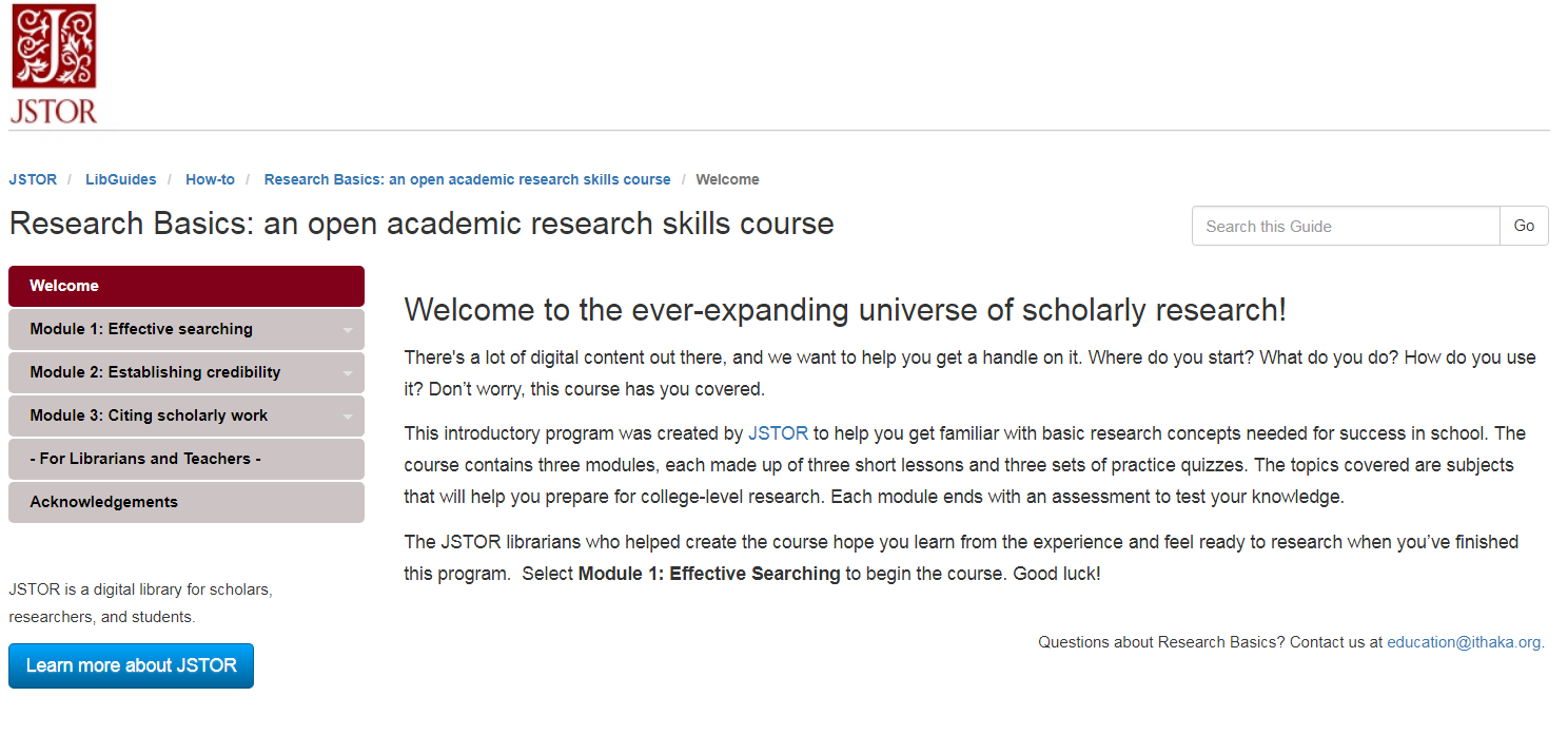 Research Basics - skills course from JSTOR