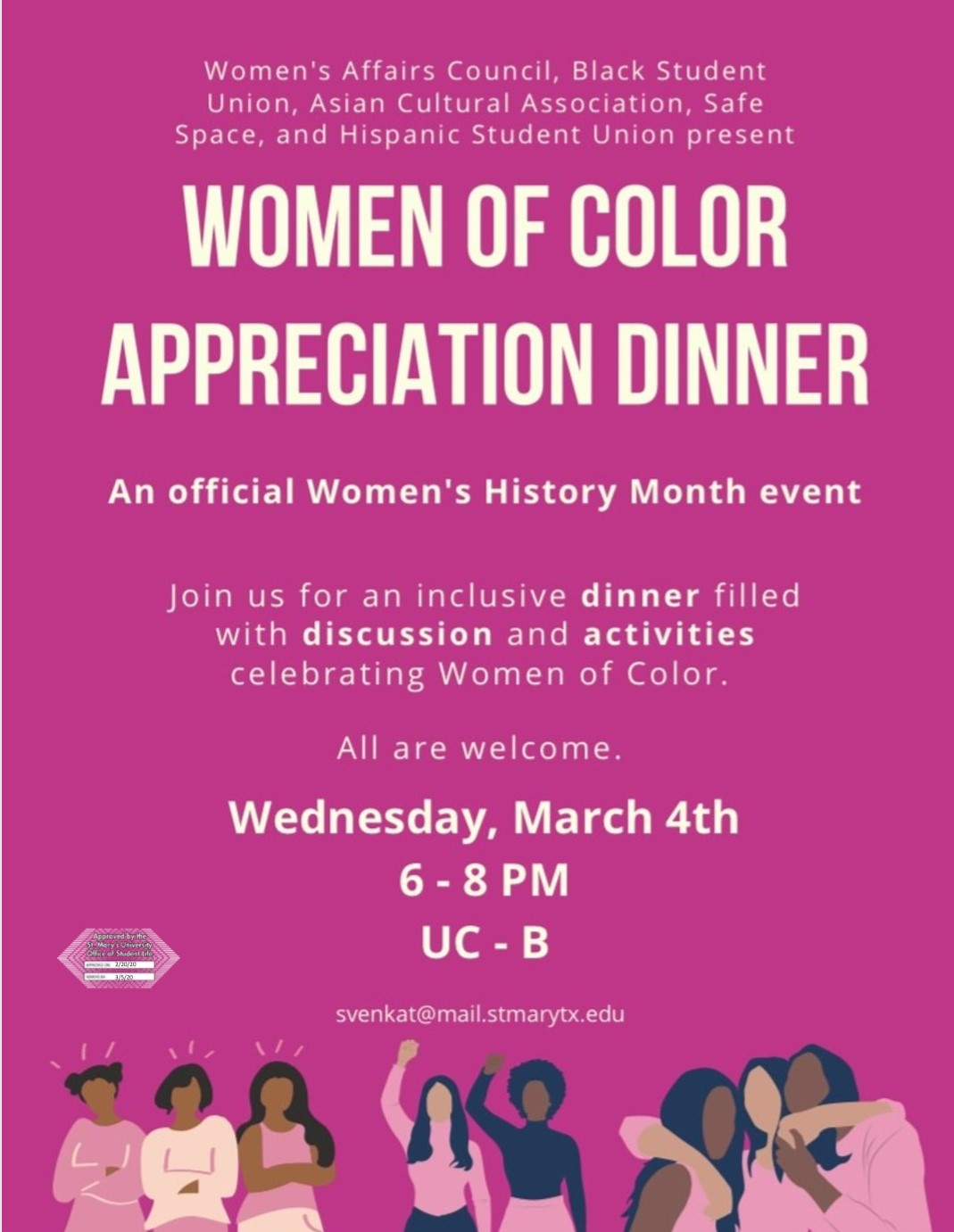 Women of Color Appreciation Dinner, Wednesday, March 4, 2020