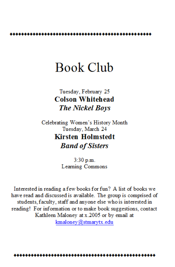 Book Club - Band of Sisters by Kirsten Holmstedt, Tuesday, March 24, 2020