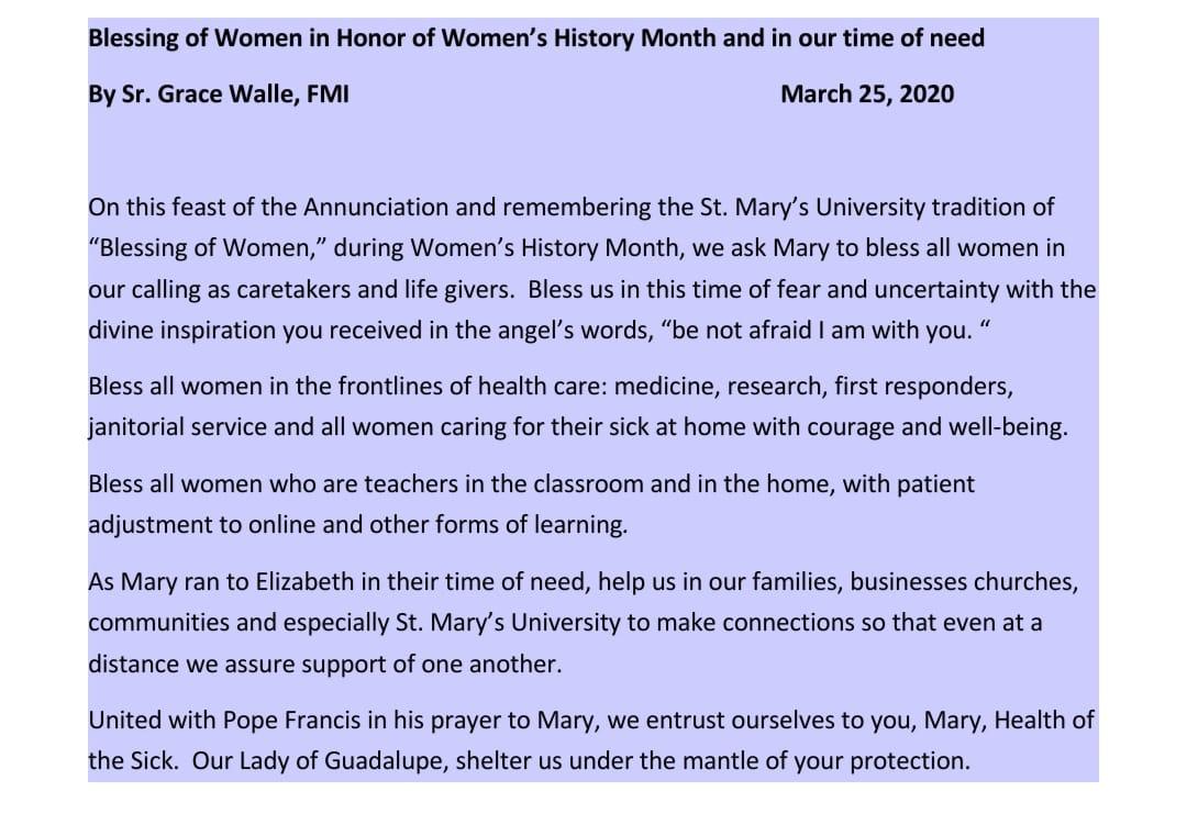 Prayer for Blessing of Women by Sr. Grace Walle, FMI. March 25, 2020.