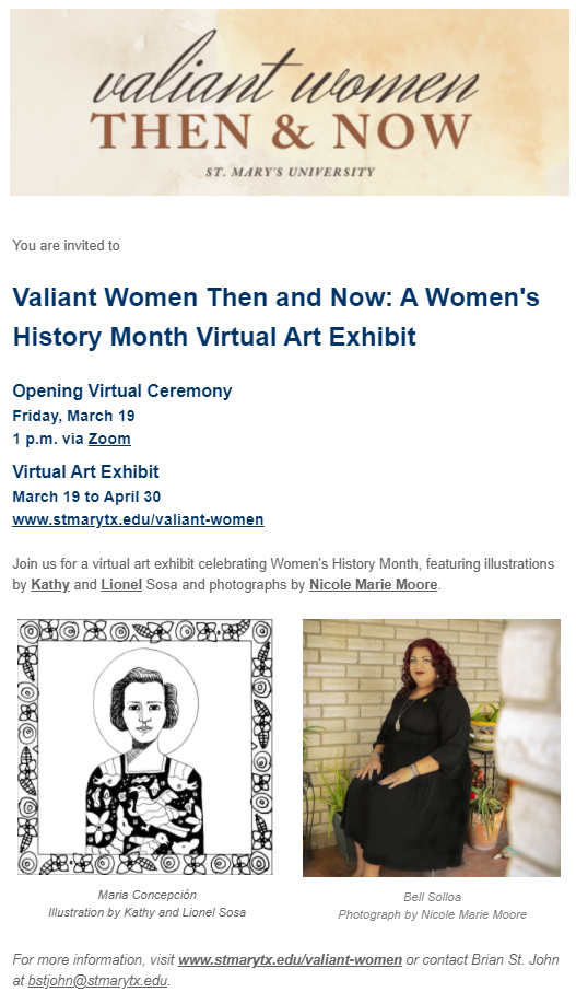 Valiant Women: Then and Now - Friday, March 19, 2021 at 1:00 p.m.
