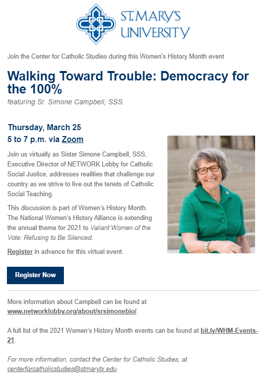 """""""Walking Toward Trouble: Democracy for the 100%"""" featuring Sr. Simone Campbell, SSS - Thursday, March 25, 2021, 5:00 p.m."""