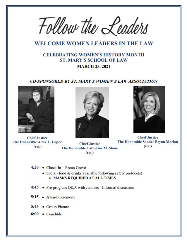 Women in Law Leadership Awards Program - Thursday, March 25, 2021, 4:00 p.m.