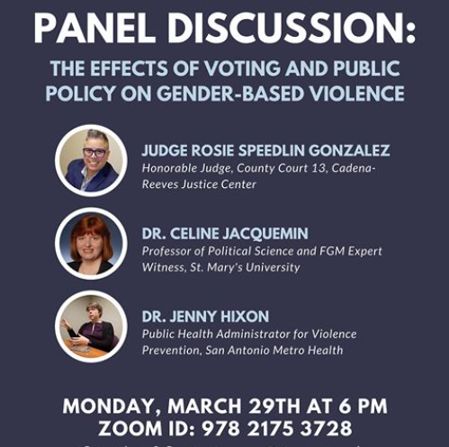 Panel Discussion: Effects of Voting and Public Policy on Gender-Based Violence - Monday, March 29, 2021, 6:00 p.m.