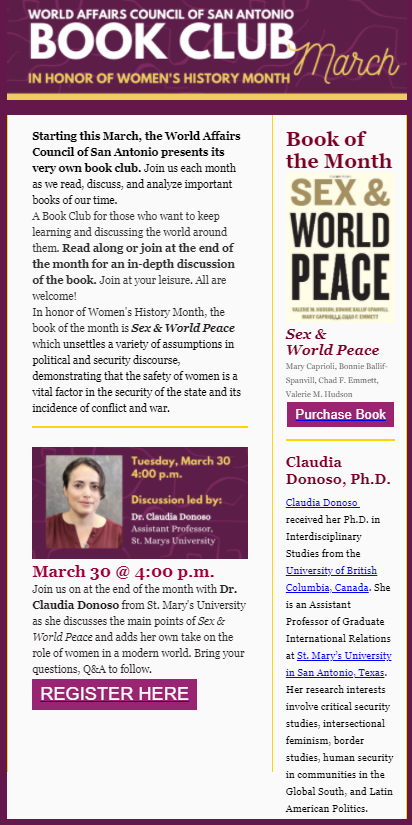World Affairs Council of San Antonio - Book Club discussion with Claudia Donoso, Ph.D., March 30, 2021, 4:00 p.m.