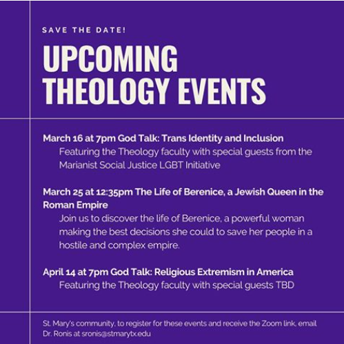 Theology Events - March 17 and March 25