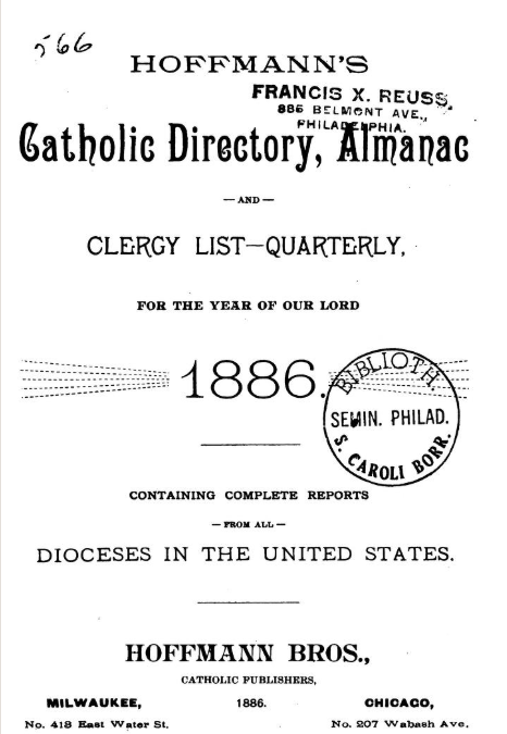 cover of Catholic Directory, Almanac and Clergy List...