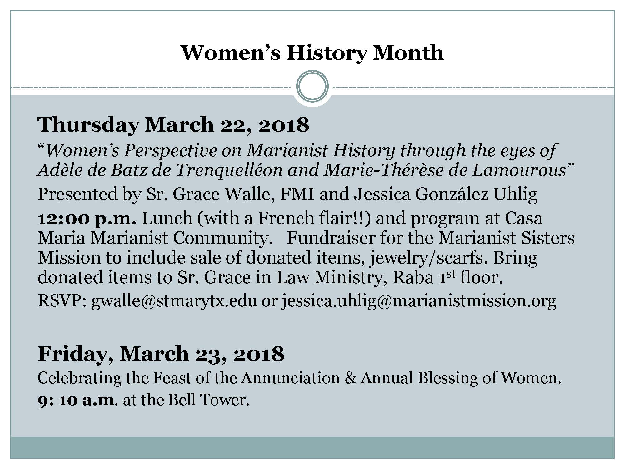 Flyer for A Woman's Perspective on the Marianist Story