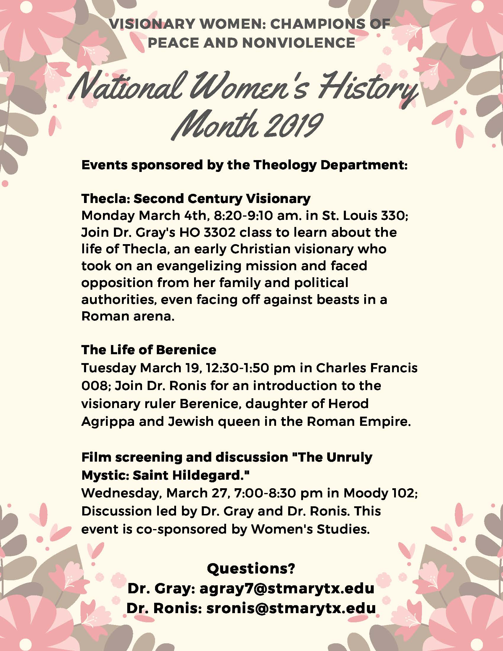 Theology Department sponsored 2019 National Women's History Month events