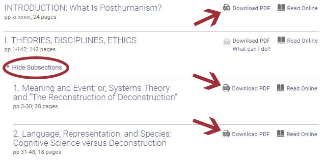 """A """"Download PDF"""" icon appears to right of each chapter title."""