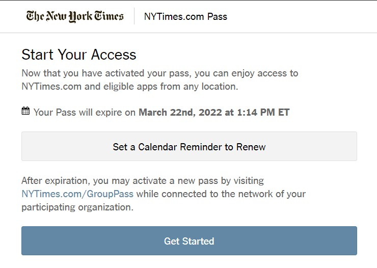 """The """"Start Your Access"""" message shows your access expiration date."""