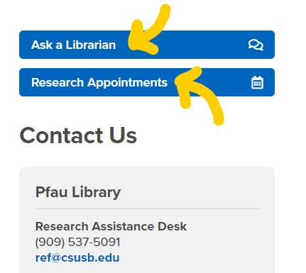 """""""Ask a Librarian"""" and """"Research Appointment"""" buttons on on the library's main page."""