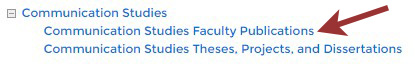 Example showing Communication Studies Faculty Publications link.