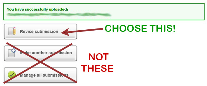 "Choose the ""Revise submission"" button; do not upload a new submission!"